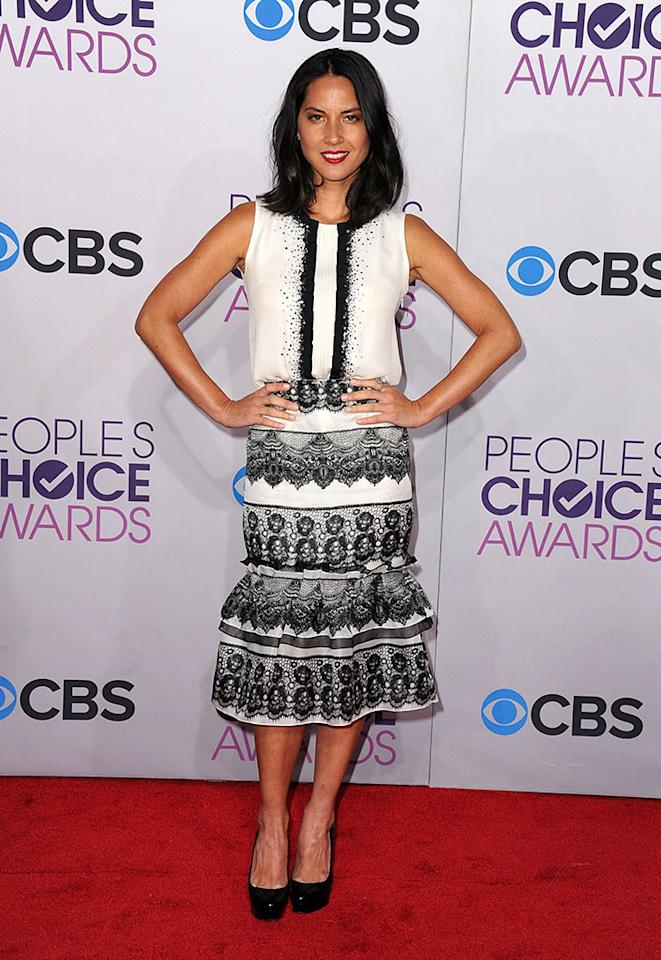 Olivia Munn attends the 2013 People's Choice Awards at Nokia Theatre L.A. Live on January 9, 2013 in Los Angeles, California.