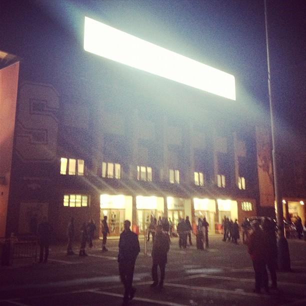 Bright lights streaming from KHL arena in Prague. (#NickInEurope)