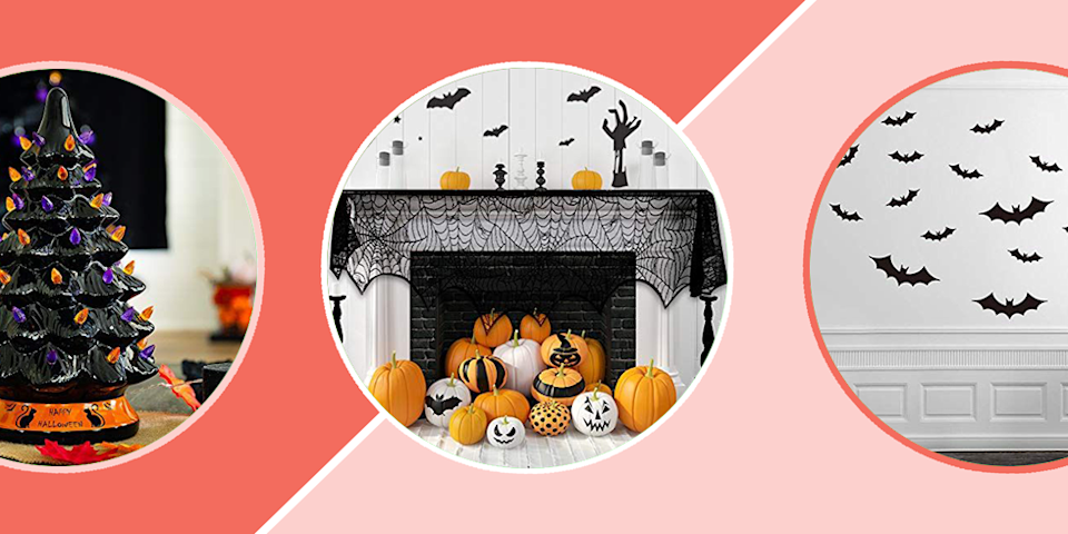 """<p>Everyone — or shall we say, <em>every ghoul</em> — has their own <a href=""""https://www.goodhousekeeping.com/holidays/halloween-ideas/g421/halloween-decorating-ideas/"""" rel=""""nofollow noopener"""" target=""""_blank"""" data-ylk=""""slk:Halloween decorating style"""" class=""""link rapid-noclick-resp"""">Halloween decorating style</a>. Some like to go all out by creating their very own haunted house with inflatable monsters, fog machines and eerie music. Others prefer to keep their space free of frights by opting for friendly-faced jack'-o-lanterns and <a href=""""https://www.goodhousekeeping.com/home/decorating-ideas/g2716/fall-decorations/"""" rel=""""nofollow noopener"""" target=""""_blank"""" data-ylk=""""slk:fall-focused decor"""" class=""""link rapid-noclick-resp"""">fall-focused decor</a>. No matter where you fall, Amazon is the place to go to find an amazing assortment of indoor and <a href=""""https://www.goodhousekeeping.com/holidays/halloween-ideas/g4602/outdoor-yard-halloween-decorations/"""" rel=""""nofollow noopener"""" target=""""_blank"""" data-ylk=""""slk:outdoor Halloween decorations"""" class=""""link rapid-noclick-resp"""">outdoor Halloween decorations</a>.</p><p>Browse through our favorite Amazon Halloween decorations to find cheap and easy ways up your home's creep factor this October. It's up to you to decide how much you want to commit to the cause: You can stick <a href=""""https://www.goodhousekeeping.com/holidays/halloween-ideas/g79/diy-halloween-wreaths/"""" rel=""""nofollow noopener"""" target=""""_blank"""" data-ylk=""""slk:a festive wreath on your front door"""" class=""""link rapid-noclick-resp"""">a festive wreath on your front door</a>, dress your lawn with larger-than-life inflatables or keep your Halloween spirit behind closed doors with <a href=""""https://www.goodhousekeeping.com/holidays/halloween-ideas/g565/halloween-party-ideas/"""" rel=""""nofollow noopener"""" target=""""_blank"""" data-ylk=""""slk:party-ready centerpieces and table decor"""" class=""""link rapid-noclick-resp"""">party-ready centerpieces and table decor</a>. Even if you tend to take the less-is-mo"""
