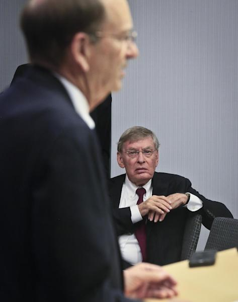 Major League Baseball Commissioner Bud Selig, right, listens as St. Louis Cardinals chairman Bill DeWitt speaks during a press conference, Thursday, May 15, 2014 at MLB headquarters in New York. DeWitt was appointed chairman of a succession committee to determine the process for replacing Selig, who has headed baseball since 1992 and plans to retire in January 2015. (AP Photo/Bebeto Matthews)
