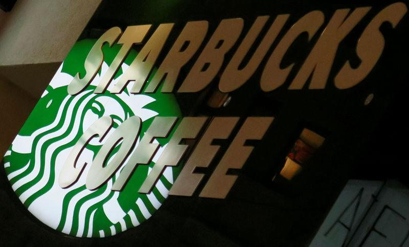 FILE PHOTO -- A Starbucks logo is seen at a Starbucks coffee shop in Vienna