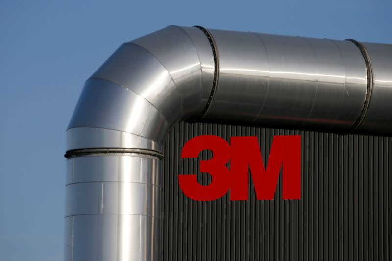 The logo of 3M is seen at the 3M Tilloy plant in Tilloy-Lez-Cambrai