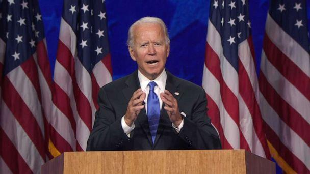 PHOTO: Democratic presidential nominee and former Vice President Joe Biden accepts the nomination during the final night of the 2020 Democratic National Convention, Aug. 20, 2020, from Wilmington, Del. (Democratic National Convention)