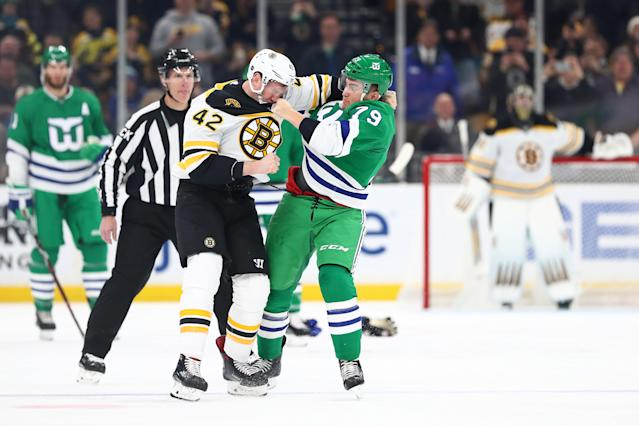 David Backes and Micheal Ferland let the fists fly. (Getty)