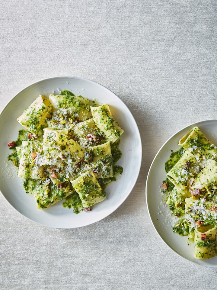 """Is it necessary to blanch, then shock, the ramp greens? If you want a super-green (not khaki) pesto, it is. <a href=""""https://www.bonappetit.com/recipe/pasta-with-ramp-pesto-and-guanciale?mbid=synd_yahoo_rss"""">See recipe.</a>"""