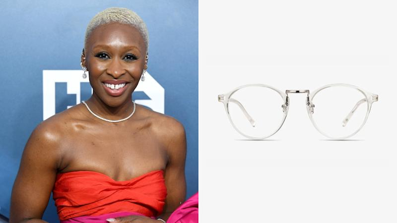 Cynthia Erivo, Chillax Round Clear Eyeglasses. (Photo: Getty Images, EyeBuyDirect)