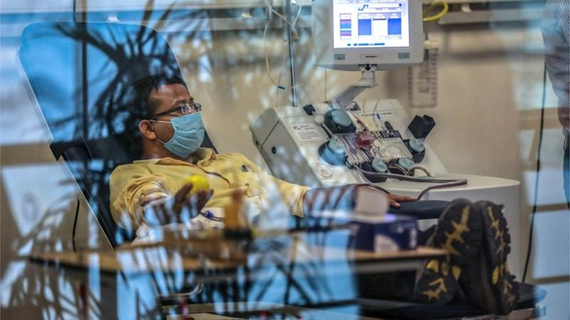 A plasma donor (C) is seen at the newly inaugurated plasma bank of the Institute of Liver and Biliary Sciences (ILBS) donating plasma for the treatment of patients suffering from the COVID-19 coronavirus, in New Delhi on July 2, 2020.
