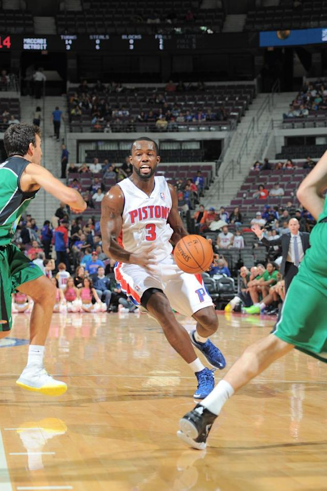 AUBURN HILLS, MI - OCTOBER 8: Rodney Stuckey #3 of the Detroit Pistons drives to the basket against the Maccabi Haifa during the game on October 8, 2013 at The Palace of Auburn Hills in Auburn Hills, Michigan. (Photo by Allen Einstein/NBAE via Getty Images)