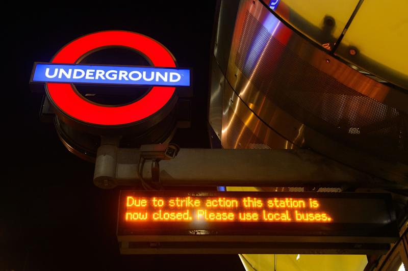 An electronic sign at Southwark underground station, in central London, giving notice of the start of 48 hours of industrial action by RMT union members affecting the London Underground in a row over ticket office closures.