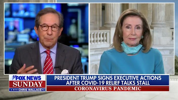 "Fox News host Chris Wallace interviews House Speaker Nancy Pelosi. (Screenshot: ""Fox News Sunday"")"