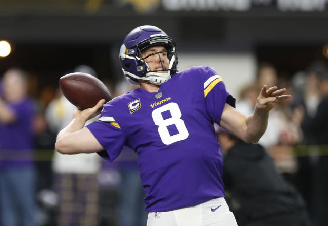 Minnesota Vikings quarterback Sam Bradford (8) throws before an NFL divisional football playoff game against the New Orleans Saints in Minneapolis, Sunday, Jan. 14, 2018. (AP Photo/Jim Mone)