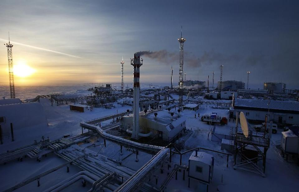Picture taken on February 18, 2015 shows facilities of Novoprtovskoye oil and gas condensates oilfield of Russian gas and oil giant Gazprom at Gazprom's Cape Kamenny oil and gas facility in the Yamalo-Nenets Autonomous District in the Russian Arctic (AFP Photo/Andrey Golovanov)