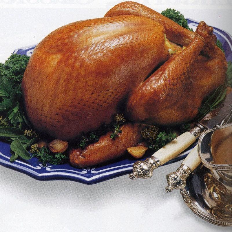 """This roast turkey recipe comes from the Bon Appètit November 1991 issue and is part of our Thanksgiving Hall of Fame series. Like loads of things, an oldie but a goodie. <a href=""""https://www.bonappetit.com/recipe/cider-roast-turkey-with-applejack-gravy?mbid=synd_yahoo_rss"""" rel=""""nofollow noopener"""" target=""""_blank"""" data-ylk=""""slk:See recipe."""" class=""""link rapid-noclick-resp"""">See recipe.</a>"""