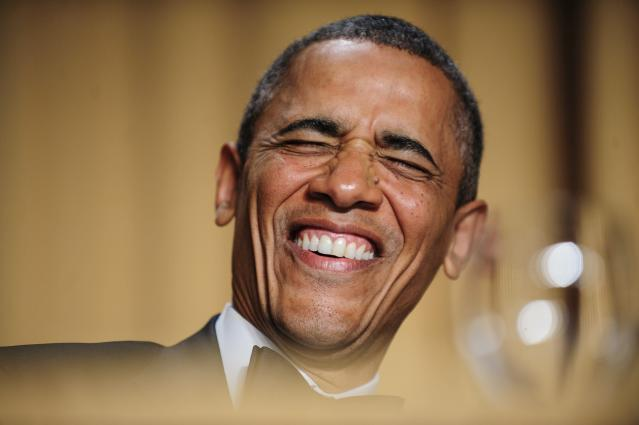 WASHINGTON, DC - APRIL 27: U.S. President Barack Obama reacts to a joke told by comedian Conan O'Brien during the White House Correspondents' Association Dinner on April 27, 2013 in Washington, DC. The dinner is an annual event attended by journalists, politicians and celebrities. (Photo by Pete Marovich-Pool/Getty Images)