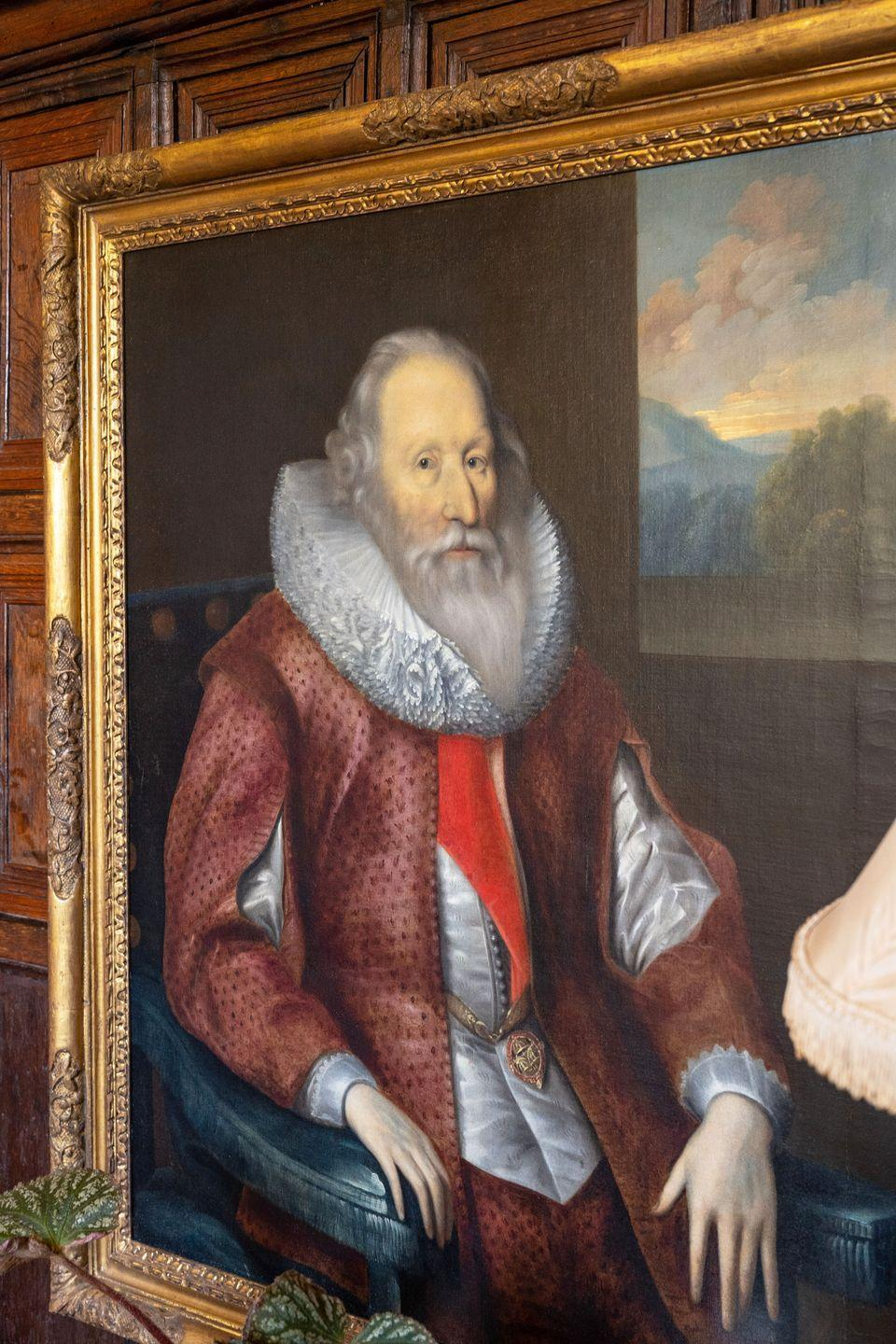 """<p>""""We don't know who painted this portrait of Edward, 1st Lord Montagu of Boughton, but he was the uncle of the 1st Earl of Sandwich. My mother-in-law likes the picture but tells me she used to hide his hands behind a plant, as she thought they looked like dead fish!""""</p>"""