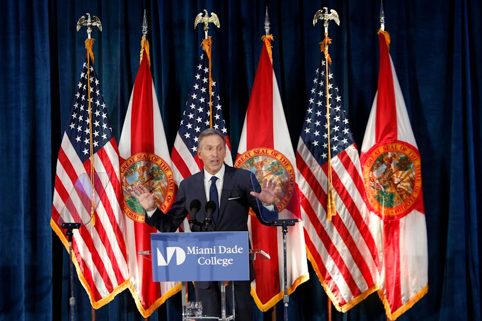 Former Starbucks CEO Howard Schultz gives a speech at Miami Dade College in Miami, Wednesday, March 13, 2019. (AP Photo/Ellis Rua)