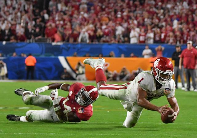 Kyler Murray's ability to avoid crushing hits will serve him well in the brutal NFL. (Getty Images)
