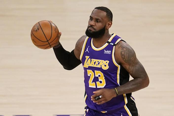 The Lakers' LeBron James during Friday night's game against the Kings.