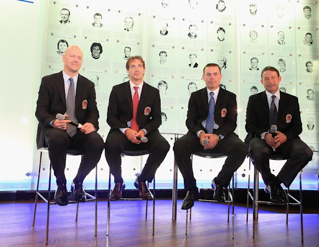 TORONTO, ON - NOVEMBER 12: (L-R) Mats Sundin, Joe Sakic, Adam Oates and Pavel Bure attend a press conference at the Hockey Hall of Fame on November 12, 2012 in Toronto, Canada. All four are former NHL players who will be inducted into the Hall during a ceremony later today. (Photo by Bruce Bennett/Getty Images)