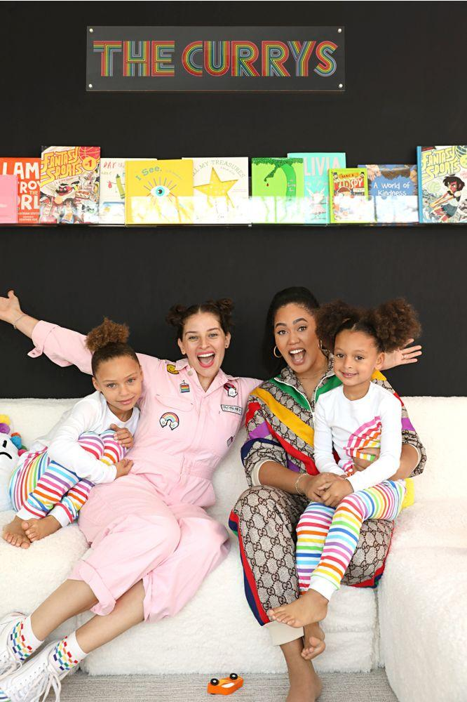Ayesha Curry with her daughters and designer Amirah Kassem | Flour Shop x Pottery Barn