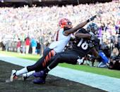 <p>Baltimore Ravens wide receiver Breshad Perriman (18) catches a touchdown over Cincinnati Bengals cornerback Darqueze Dennard (21) in the first quarter at M&T Bank Stadium. Mandatory Credit: Evan Habeeb-USA TODAY Sports </p>