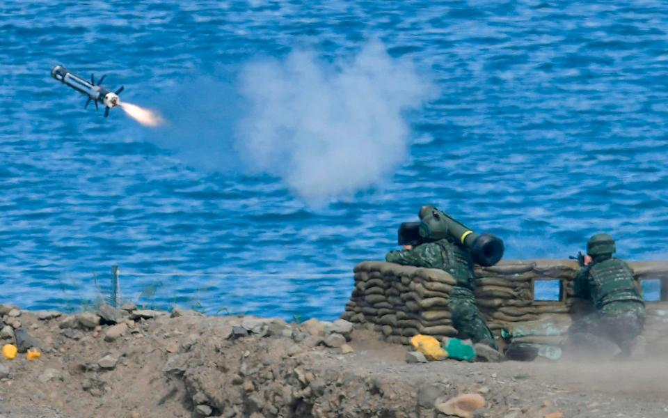 A soldier launches a Javelin missile during a military drill in southern Taiwan - Sam Yeh/AFP