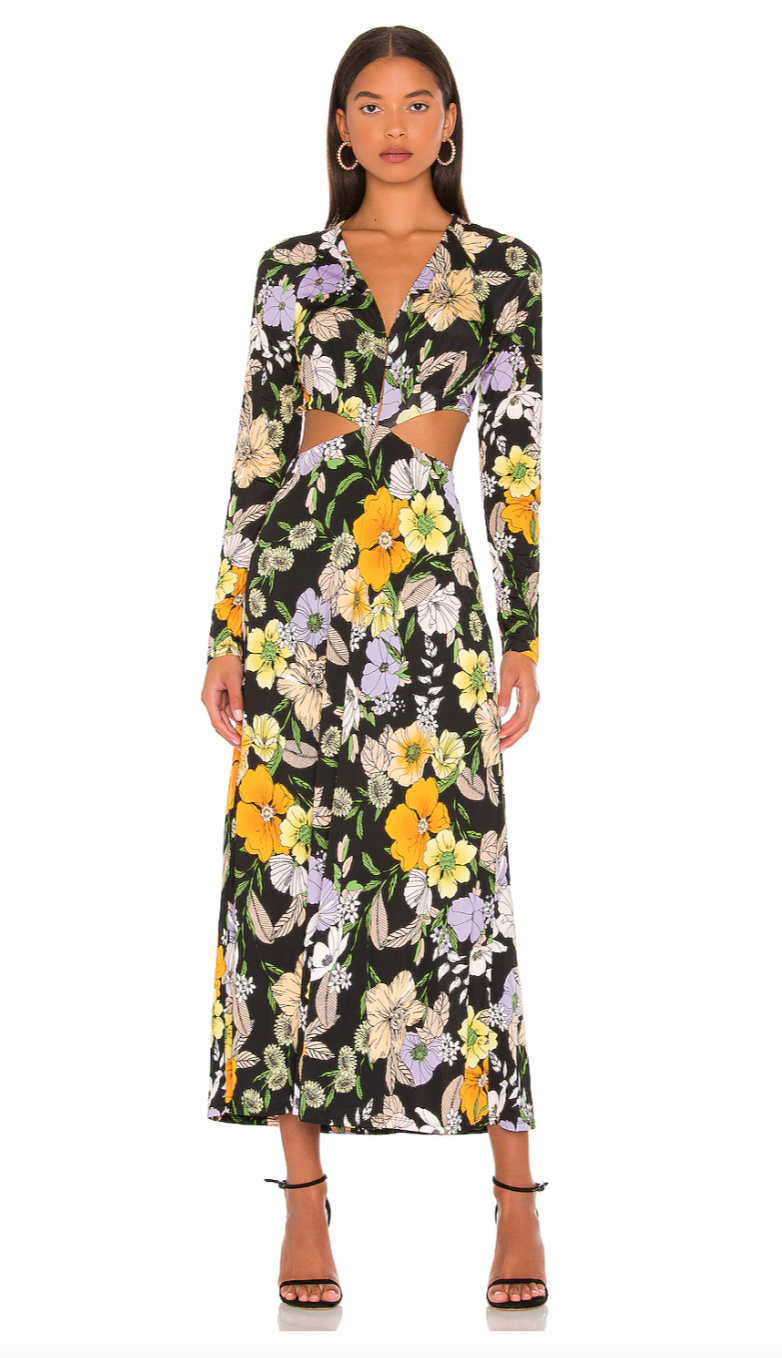 """<h2>AFRM Assi Dress</h2><br><em><strong>The Wedding Guest Dress</strong></em><br><br>Open back, waist cut-outs, and a satin finish are the fixings for a seriously fashion-forward fall dress. Even so, this is one style that you can feel confident in as you step outside of your sartorial comfort zone and into any chic setting. <br><br><strong>The Hype: </strong>4.1 out of 5 stars; 16 reviews on Revolve.com<br><br><strong>What They're Saying</strong>: """"This dress is everything!!! The top has clasps so you can adjust it to be less revealing. The material is so soft and stretchy and comfortable. Bought this to wear to weddings and I can't wait!"""" — Anonymous, Revolve reviewer<br><br><em>Shop</em> <strong><em><a href=""""https://www.revolve.com/afrm-assi-dress-in-noir-vintage-floral/dp/AFFM-WD64/"""" rel=""""sponsored"""" target=""""_blank"""" data-ylk=""""slk:Revolve"""" class=""""link rapid-noclick-resp"""">Revolve</a></em></strong><br><br><strong>AFRM</strong> Assi Dress, $, available at <a href=""""https://go.skimresources.com/?id=30283X879131&url=https%3A%2F%2Fwww.revolve.com%2Fafrm-assi-dress-in-noir-vintage-floral%2Fdp%2FAFFM-WD64%2F"""" rel=""""sponsored"""" target=""""_blank"""" data-ylk=""""slk:Revolve"""" class=""""link rapid-noclick-resp"""">Revolve</a>"""