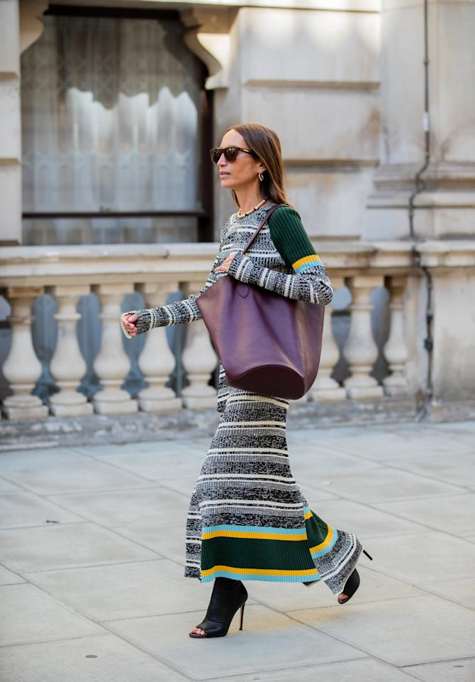 <p>Ribbed sweater dresses are a closet staple that will take you through the colder months in style, while also keeping you warm and cozy. Wear them with your favorite boots and a biker jacket for a cool date-night look.</p>