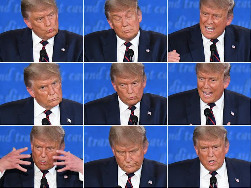 <strong>This combination of pictures shows US president Donald Trump during the first presidential debate with Democratic presidential candidate Joe Biden.</strong> (Photo: SAUL LOEB via Getty Images)