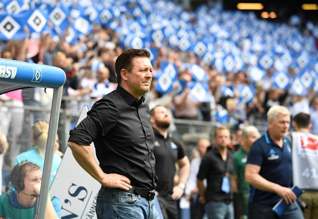 Soccer Football - Bundesliga - Hamburger SV v Borussia Moenchengladbach - Volksparkstadion, Hamburg, Germany - May 12, 2018 Hamburg coach Christian Titz looks on REUTERS/Fabian Bimmer DFL RULES TO LIMIT THE ONLINE USAGE DURING MATCH TIME TO 15 PICTURES PER GAME. IMAGE SEQUENCES TO SIMULATE VIDEO IS NOT ALLOWED AT ANY TIME. FOR FURTHER QUERIES PLEASE CONTACT DFL DIRECTLY AT + 49 69 650050