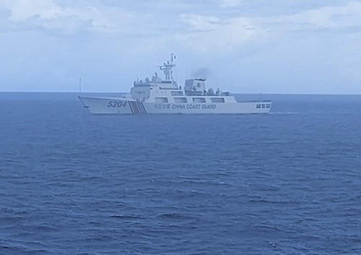 FILE - This undated file photo released on Tuesday, Sept. 15, 2020, by Indonesian Maritime Security Agency (BAKAMLA) shows a Chinese Cost Guard ship sails in North Natuna Sea. Earlier this month, an Indonesian patrol ship confronted a Chinese coast guard vessel that spent almost three days in waters where Indonesia claims economic rights and are near the southernmost part of China's disputed South China Sea claims. (Indonesian Maritime Security Agency via AP, File)