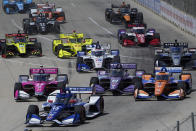 Cars compete during the second race of the IndyCar Detroit Grand Prix auto racing doubleheader on Belle Isle in Detroit, Sunday, June 13, 2021. (AP Photo/Paul Sancya)