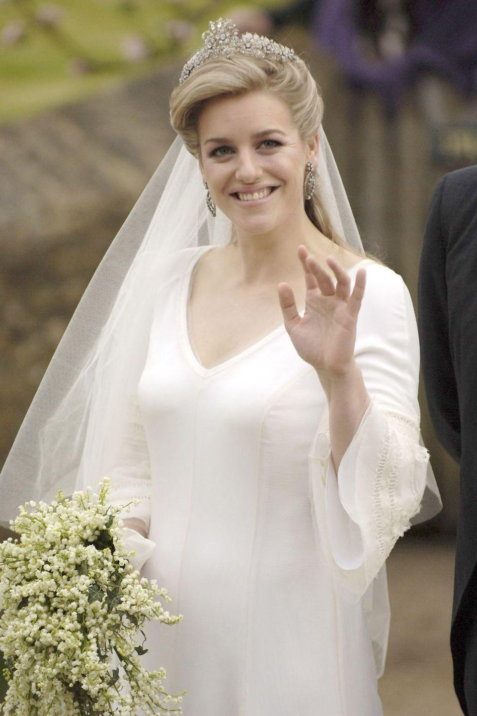 "<p><strong>Wedding date: </strong>May 6, 2006</p><p><strong>Wedding tiara: </strong>Laura Lopes, <a href=""https://www.townandcountrymag.com/society/tradition/a17008420/camilla-parker-bowles-children/"" rel=""nofollow noopener"" target=""_blank"" data-ylk=""slk:the daughter of Camilla, Duchess of Cornwall"" class=""link rapid-noclick-resp"">the daughter of Camilla, Duchess of Cornwall</a> and her first husband Andrew Parker Bowles, wore a family heirloom, <a href=""http://www.thecourtjeweller.com/2017/02/the-cubitt-tiara.html"" rel=""nofollow noopener"" target=""_blank"" data-ylk=""slk:the Cubitt-Shand tiara"" class=""link rapid-noclick-resp"">the Cubitt-Shand tiara</a>, on her wedding day. The tiara once belonged to Camilla's grandmother, Sonia Cubitt, and later to Camilla's mother, Rosalind Shand. The floral tiara was also worn by Camilla at her first wedding to Andrew back in 1973.</p>"