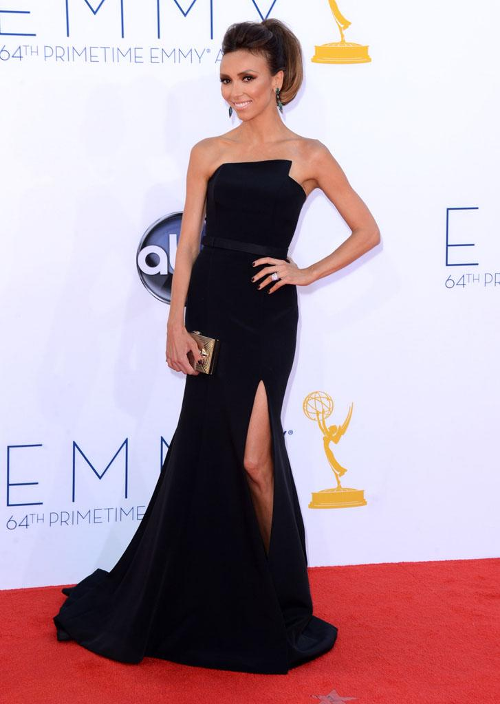 Giuliana Rancic arrives at the 64th Primetime Emmy Awards at the Nokia Theatre in Los Angeles on September 23, 2012.