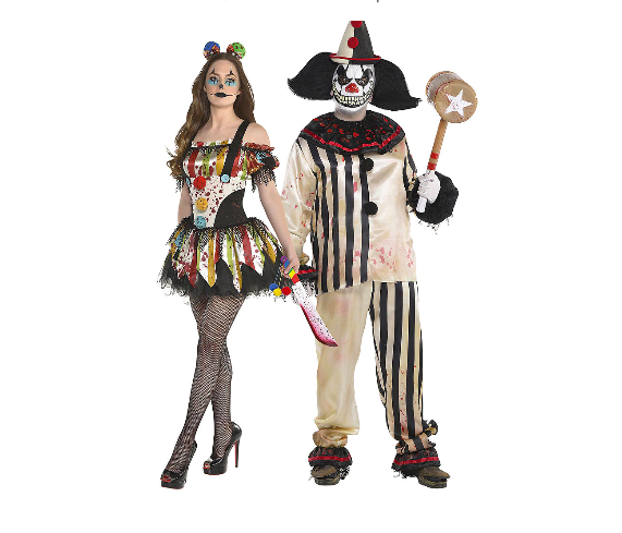 """<p>Clowns are and will always be terrifying creatures, making them the perfect scary couples costume.</p><p><a class=""""link rapid-noclick-resp"""" href=""""https://www.amazon.com/Fun-World-Womens-Freakshow-Clown/dp/B01GLWWDPK?tag=syn-yahoo-20&ascsubtag=%5Bartid%7C10070.g.28669645%5Bsrc%7Cyahoo-us"""" rel=""""nofollow noopener"""" target=""""_blank"""" data-ylk=""""slk:SHOP WOMEN'S COSTUME"""">SHOP WOMEN'S COSTUME</a> </p><p><a class=""""link rapid-noclick-resp"""" href=""""https://www.amazon.com/Rubies-Clown-Costume-Multi-X-Large/dp/B00UI3CCIW?tag=syn-yahoo-20&ascsubtag=%5Bartid%7C10070.g.28669645%5Bsrc%7Cyahoo-us"""" rel=""""nofollow noopener"""" target=""""_blank"""" data-ylk=""""slk:SHOP MEN'S COSTUME"""">SHOP MEN'S COSTUME</a></p>"""