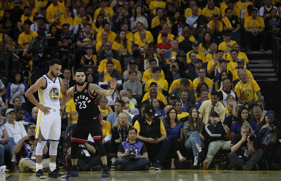 The Warriors and Raptors are now at even odds to win the 2019 NBA Finals. (Getty Images)