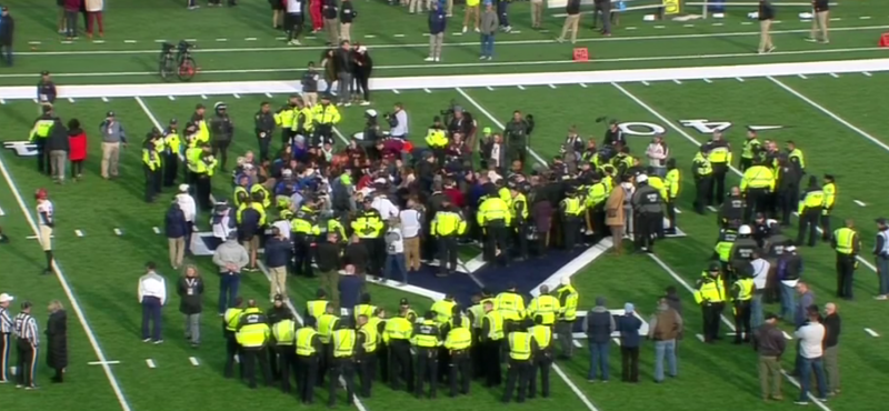 Protesters disrupt the Harvard vs. Yale game. (via ESPNU)