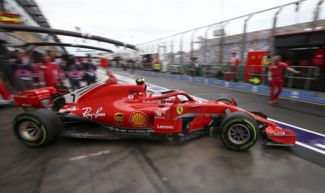 Ferrari driver Kimi Raikkonen of Finland leaves his garage during the practice session at the Australian Formula One Grand Prix in Melbourne, Saturday, March 24, 2018. The first race of the 2018 seasons is on Sunday. (AP Photo/Rick Rycroft)