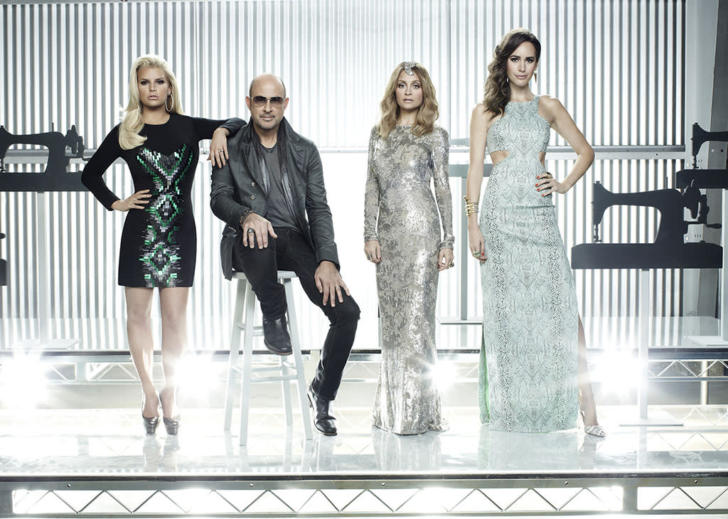 "Jessica Simpson, John Varvatos, Nicole Ritchie, and Louise Roe in NBC's ""Fashion Star"" Season 2."