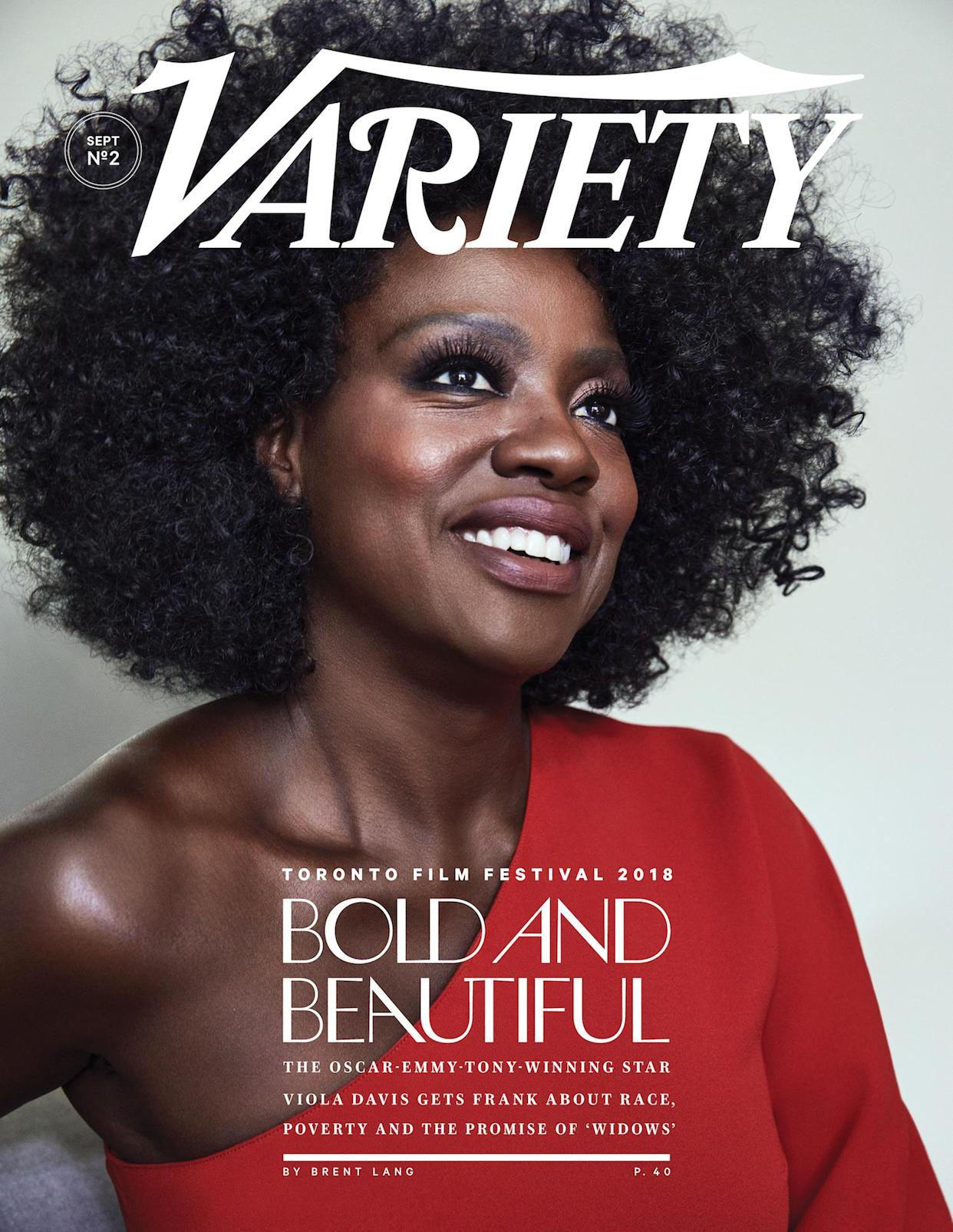 Viola Davis graces the latest cover of <em>Variety</em> and opens up about the importance of wearing her natural hair in the film <em> Widows.</em> (Photo: W <span>illiams + Hirakawa&nbsp;</span>for <em>Variety</em>)