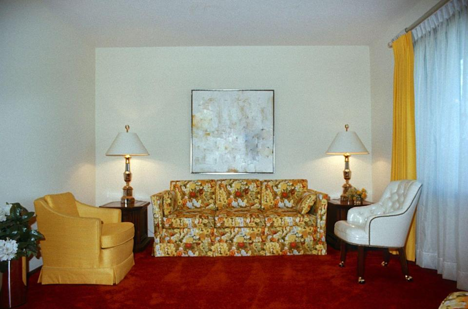 <p>Much the same as wallpaper, upholstery in the 70s tended toward big, bright, bold, and busy as a bee in a field full of sunflowers. But where wallpaper tended toward geometric shapes, furniture fabric was all about the florals.</p>