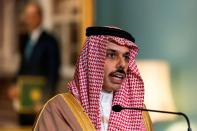 FILE PHOTO: Saudi Minister of Foreign Affairs Prince Faisal bin Farhan Al Saud speaks during a meeting at the U.S. State Department in Washington