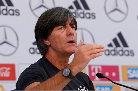 Soccer Football - FIFA World Cup - Germany Press Conference - Eppan, Italy - May 24, 2018 Germany coach Joachim Loew during the press conference REUTERS/Leonhard Foeger - RC1AA7C7D030