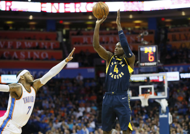 Victor Oladipo is shooting 44.3 percent from 3-point range. (AP)