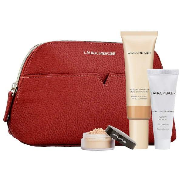 <p>OK, sure, you'll need to already know your friend's makeup shade (or sneak a peek) but, once you do, this <span>Laura Mercier Prime, Perfect and Set Customizable Set</span> ($47) comes with a brand-new beauty bag to hold a full-sized regular or oil-free tinted moisturizer, and a couple other goodies, too.</p>