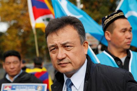 Dolkun Isa, President of the World Uyghur Congress, attends a demonstration against China during its Universal Periodic Review by the Human Rights Council in front of the United Nations Office in Geneva, Switzerland, November 6, 2018. REUTERS/Denis Balibouse