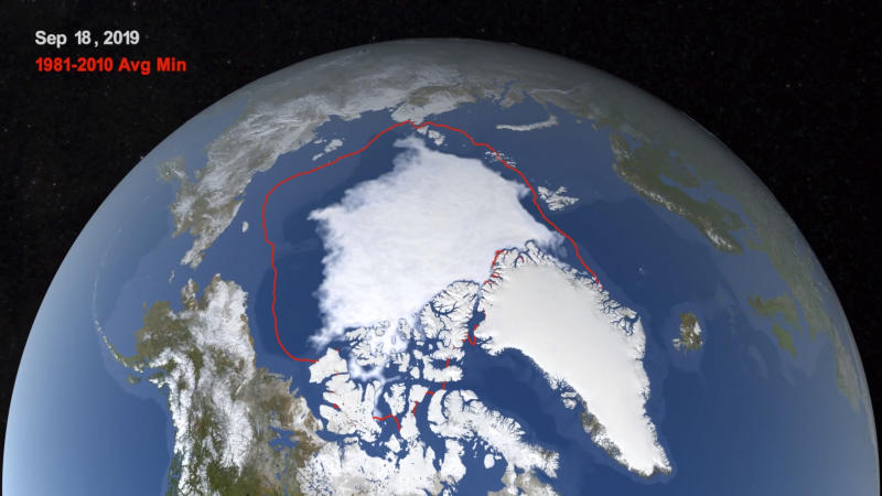 "This image from video provided by NASA shows the likely 2019 minimum extent of ice in the Arctic Sea on Sept. 18, 2019, compared with the average minimum from 1981-2010. Articles circulating online in early October 2019 wrongly suggest that NASA has rejected human responsibility for climate change and, instead, attributed the phenomenon to variations in Earth's axis and tilt. ""Oh for heaven's sake,"" Kate Marvel, a research scientist for NASA, said in an email response to the claim. She told The Associated Press that scientists at the federal agency believe as much as 100 percent of current warming could be caused by greenhouse gas emissions, which humans have ""emitted a lot of."" (Trent Schindler/NASA via AP)"