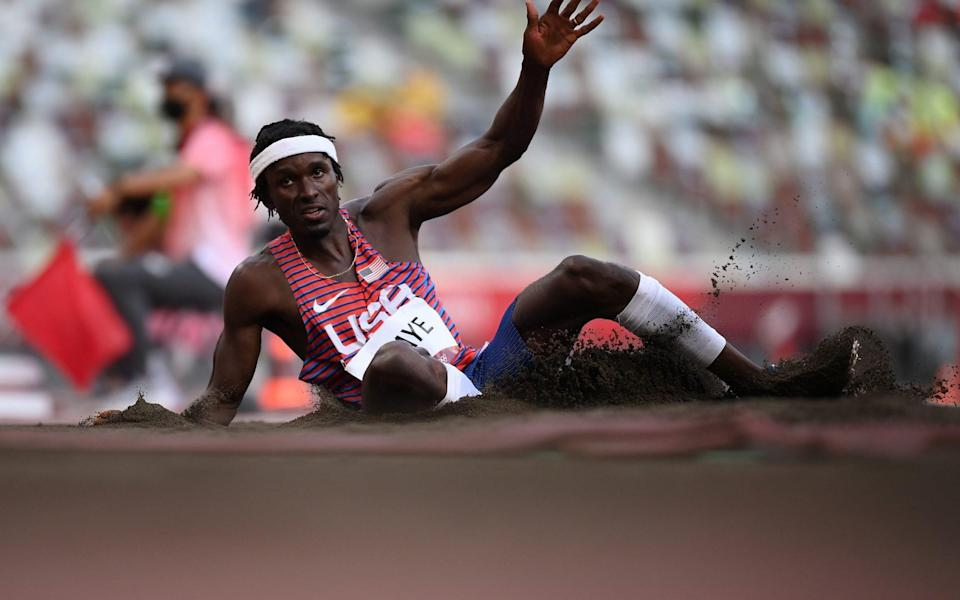 USA's Will Claye lies in second early on in the Triple Jump - GETTY IMAGES