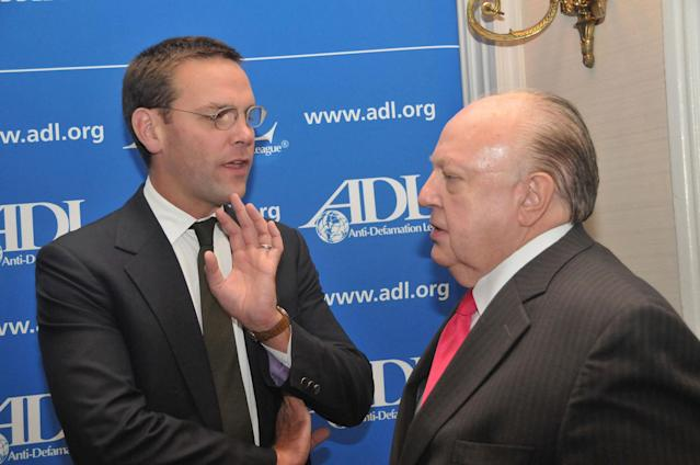 <p>James Murdoch, left, and Roger Ailes at an Anti-Defamation dinner that honored Rupert Murdoch on Oct. 13, 2010, at the Waldorf Astoria Hotel in New York. (Photo: Tim Boxer/Getty Images) </p>
