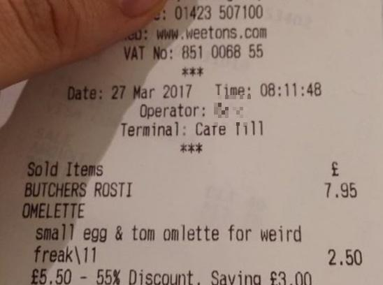 The receipt received by Steve Dempster from Weetons cafe in Harrogate, North Yorkshire. [SWNS]